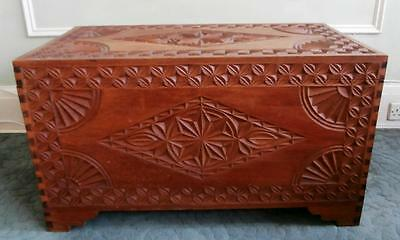 Antique Vintage Large Carved Wood Dowry Chest Trunk Blanket Box Storage Ottoman