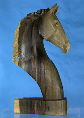 Hand Carved Wooden Horse Head Large Bust - Western Statue Sculpture, Unique Art