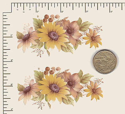 "2 x Waterslide ceramic decals Decoupage Yellow Daisies  3 1/2"" x 1 1/2""  #6"