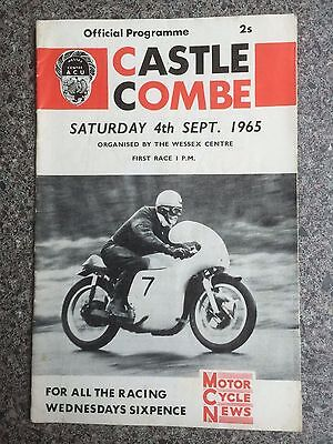 Motor cycle road racing programme Castle Combe 1965