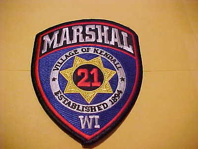Village Of Kendall  Wisconsin  Marshal Police Patch Shoulder Size Unused