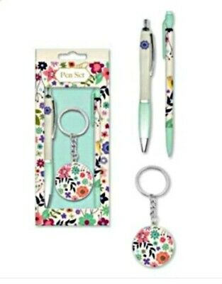 BUTTERFLY & ROSE GIFT SET Pen Pencil KEYRING STATIONARY GIRL LADY in box