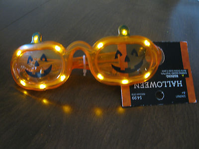 Halloween Light Up Pumpkin Glasses  ages 6+ Jack O Lantern  NWT