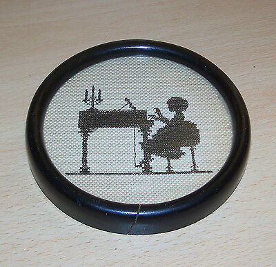 Vintage Black Silhouette Embroidered Needlepoint Framed Picture