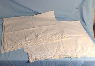 Pair Antique French Linen Fancy Embroidered Pillowcases 2