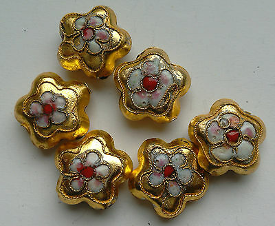 6 Cloisonne Beads, Gold/Pink/White. Flower, 15 mm. Jewellery Making/Crafts