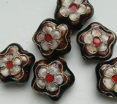 6 Cloisonne Beads, Burgundy/Pink/White. Flower, 15 mm. Jewellery Making/Crafts