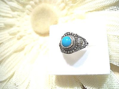 Artisan Crafted Arizona Sleeping Beauty Turquoise Ring Sterling Silver