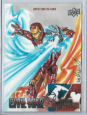 2016 UD Captain America Civil War Iron Man sketch by Achilleas Kokkinakis 1/1