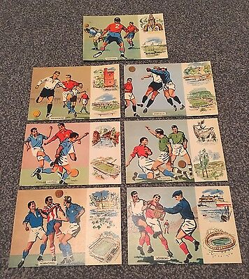 Set of Sweden 1958 World Cup Opening Day Football Postcards - 8 June, 1958