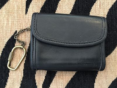 Vintage COACH Black Leather Small Card Case Wallet Coin Purse