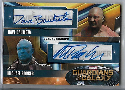 Guardians of the Galaxy Dave Bautista Michael Rooker Dual Autograph Drax Yondu