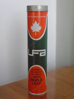 VINTAGE 1970's MAPLE LEAF UFA 'SUMMER' GREASE (14 oz.) TIN CAN SIGN