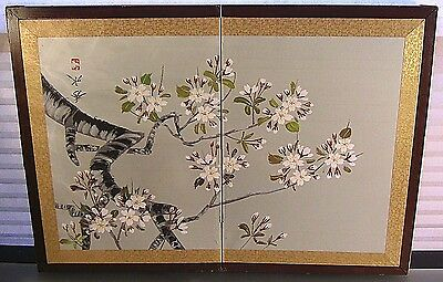 Antique Chinese Painting on Silk Folding Screen Handpainted Prunus Signed Seal