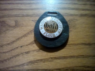 Washburn Crosby Co. Gold Medal Flour Leather Metal Watch Fob Advertising