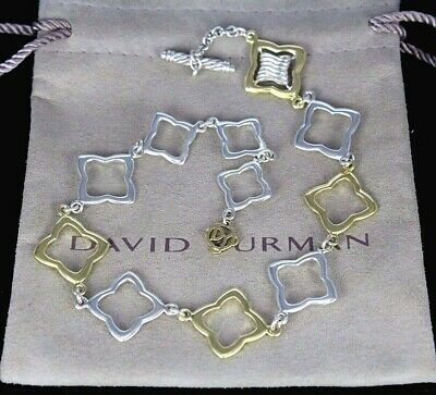 $1,725 David Yurman 18k Yellow Gold Silver Quatrefoil Toggle Anklet Bracelet