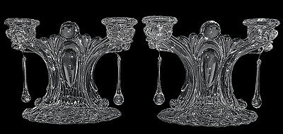 Cambridge Caprice Crystal #69 EXTREMELY RARE  Two Holder Candlesticks, Pair