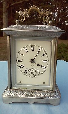 Beautiful Antique 1900's 'Ansonia' Carriage Desk Clock W/Chime And Alarm