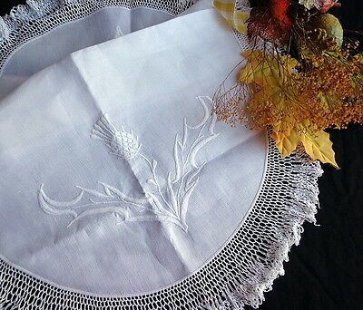 """Antique White Linen Scottish Tablecloth / White Hand-Embroidered Thistles 28"""""""