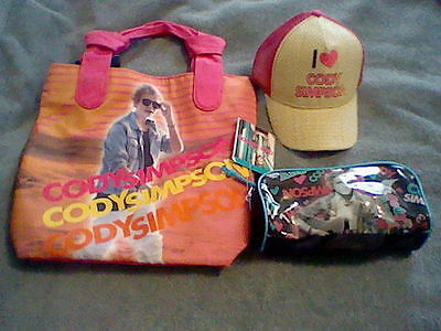Brand New Girl's Cody Simpson Pocketbook, Pencil Pouch And Hat