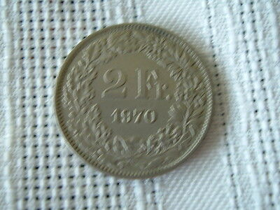 Switzerland Silver Helvetia Swiss Coin 2 Francs 1970 Circulated Uncleaned