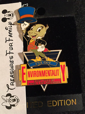 Disney LE Pin WDW I've Got Environmentality Jiminy Cricket Pinocchio FREE SHIP
