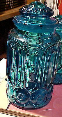 """Vintage LE Smith Blue Moon & Stars Glass Canister Jar  11"""" Container"""
