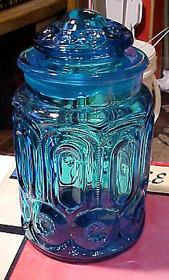 """Vintage LE Smith Blue Moon & Stars Glass Canister Jar  9"""" Container"""