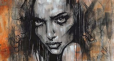 "Non Nude OIL & ACRYLIC CANVAS Painting ORIGINAL Portrait By L Dolan 17x32"" Badb"