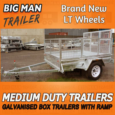 7x4 Box Trailer Cage With Ramp Medium Duty Galvanized Checker Plate Welded