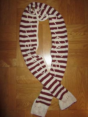 Abercrombie Kids Girls Cranberry & Cream Thick Knit Winter Long Scarf Scarve