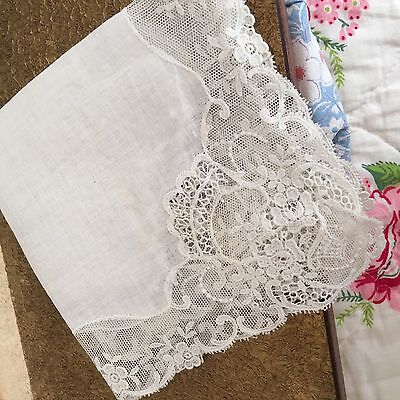 Stunning Vintage Bridal Hanky Trimmed In French Lace.... See