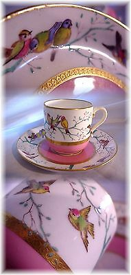 Antique Minton England Cup And Saucer Hand Painted Enameled Birds Encrusted Gold