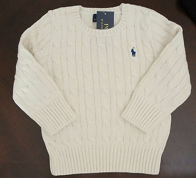 NWT RALPH LAUREN Polo Boy's Cotton Cable SWEATER Size 10 12 Chic Cream New