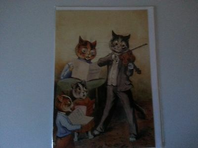 LOUIS WAIN vintage kitty cat  THE FAMILY QUARTET reproduction greeting card MINT