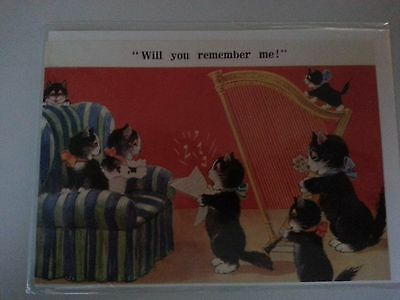 Antique reproduction kitty cat  singing vintage greeting card MINT 1919