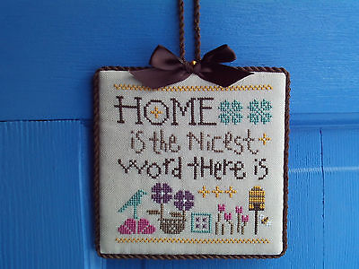 finished completed Lizzie Kate Home Bees Flowers Bird cross stitch ornament