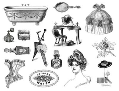 Vintage Victorian Black White Beauty Furniture Transfer Waterslide Decals MIS576