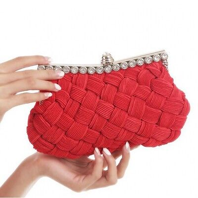 Red Clutch Bag Satin Diamante Wedding Races Prom Party Evening Ladies Bag Red