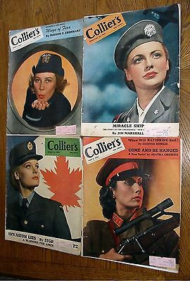Vintage Collier's Magazine 1944  Wwii Women In Uniform Covers Lot Of 4