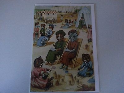 LOUIS WAIN kitty cat SEASIDE HOLIDAY reproduction greeting card MINT c1910