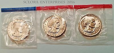 1981 P D S Susan B Anthony Dollar Set (3 coins)  *MINT CELLO*  **FREE SHIPPING**