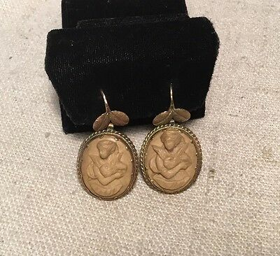 Antique Victorian 14k Yellow Gold & Lava Cameo Dangle Earrings