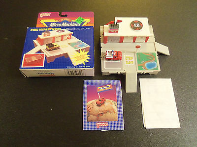 Micro Machines Travel City Fire Department Playset 100% Complete w/ Datsun Truck