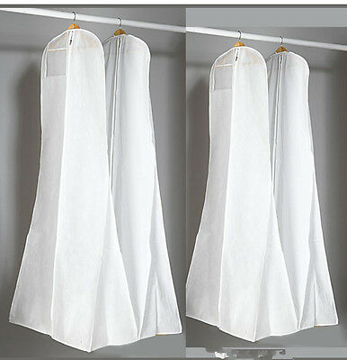 White Breathable Wedding Bridal Gowns Prom Dresses Garment Bag Extra Long Cover