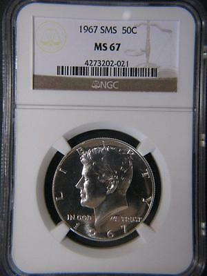 1967 SMS Kennedy Silver Half Dollar 50 Cents NGC MS67 Catalogues at $60.00
