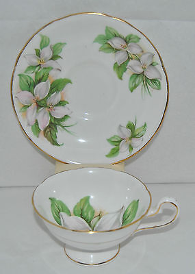 "Beautiful Royal Stafford ""White Trillium"" Fine Bone China Tea Cup and Saucer"