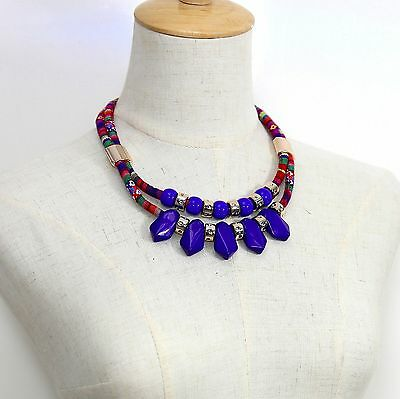 #1194 Women Fashion Jewellery Ethnic Blue Bead Statement Double Chain Necklace
