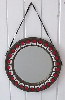 Beautiful Space Age  Pottery And Enamel Wall Hanging Signed Mirror