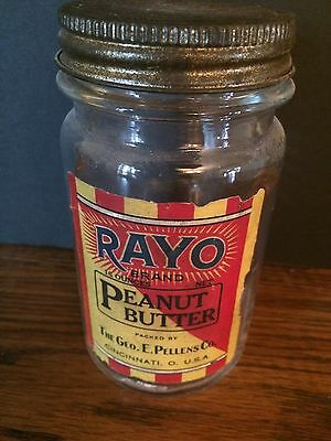 VINTAGE GLASS RAYO Peanut Butter Jar! Cincinnati Ohio